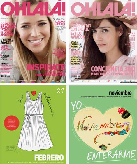 Revista Ohlalá! (de izquierda a derecha): diseño original (2007) y rediseño (2011)