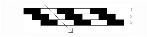 Figura 1: Estímulos empleados por Dobkins y Albright (1993). Un rojo y un verde, a igual luminancia, ocupan las porciones oscuras y claras respectivamente. Las bandas 1, 2 y 3 se trasladan horizontalmente a pasos iguales en la dirección indicada por la flecha.