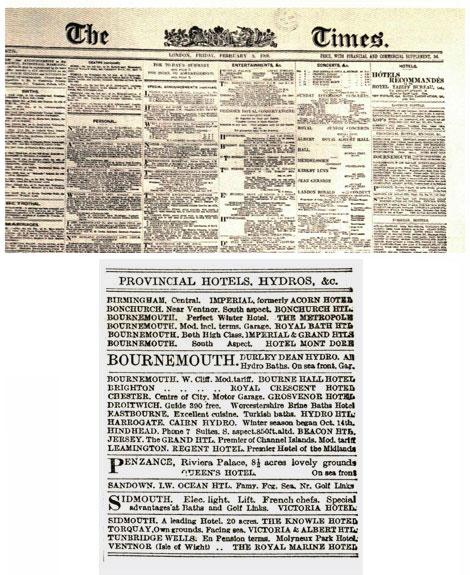 Fig. 2. Portada de The Times y fragmento compuesto con la nueva fuente para composición Monotype. Biblioteca de la Universidad de Cambridge