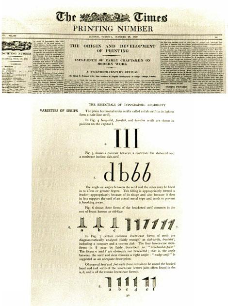Fig. 3 y 4. Portada del suplemento de The Times dedicado a la tipografía de octubre de 1929. Memorándum de Stanley Morison para proyectar una nueva tipografía para periódicos. Biblioteca de la Universidad de Cambridge