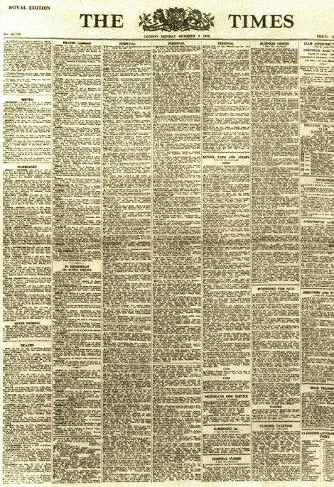 Fig. 5. Portada de The Times de octubre de 1932. Biblioteca de la Universidad de Cambridge