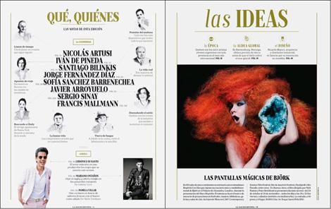 Revista La Nación (2014): página de Sumario y sección Ideas