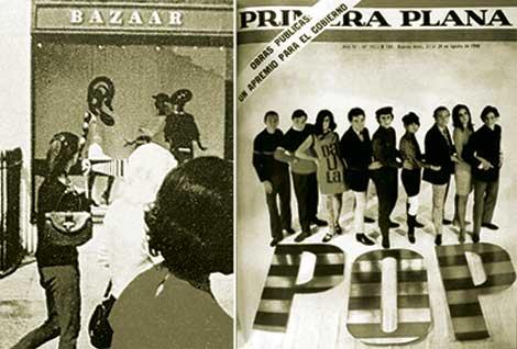 Figura 1 y 2: Vidriera de la boutique Bazaar, propiedad de Mary Quant, King's Road, Londres, 1960 (izq.). Tapa Primera Plana, año IV, núm. 191, 23 de agosto, 1966 (der.).