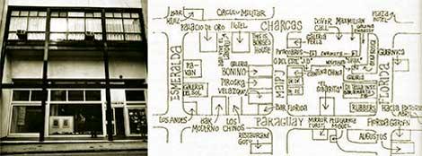 """Figura 3 y 4: Fachada Instituto Di Tella, Florida 936 (izq.). Y plano de la """"manzana loca"""" y alrededores, publicado en El Di Tella, J. King, 1985 (der.)."""