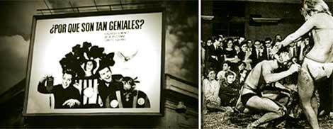 """Figura 5 y 6. Cartel """"¿Por qué son tan geniales?"""", Giménez, Puzzovio y Squirru, Florida y Viamonte, 1965 (izq.). Happening organizado por los artistas Jacobi, Costa, Suarez, Bony y Tellechea, Instituto Di Tella, 1966. Publicado en """"Todo el año es carnaval"""", Panorama, núm. 45, febrero, 1967 (der.)."""