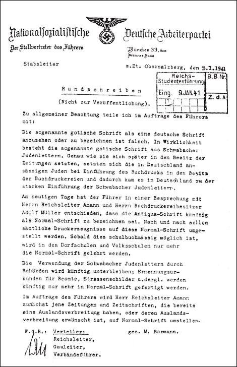 """Fig.11. Decreto nazi en el que se prohíbe la letra gótica por se """"judío"""", 1941."""