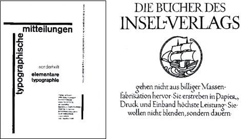Fig. 5. Ivan Tschichold: Tipografía elemental de 1925 (izq.), y anuncio con letras manuales de 1926 (der.).