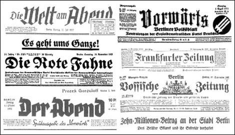 Fig. 6. Titulares de periódicos alemanes de tendencia izquierdista: Die Rote Fahne (comunista) y Vorwärts (socialdemócrata).