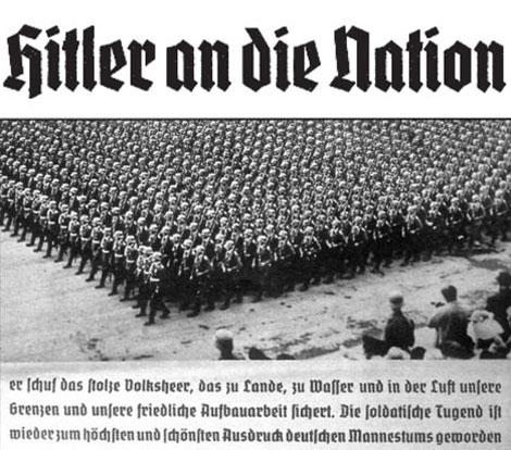 Fig. 9. Tipo Deutschland: versión de 28 puntos (Bauersche GieBerei) de 1934 (arriba). | Fig. 10. Tipo Deutschland en un uso práctico (abajo).
